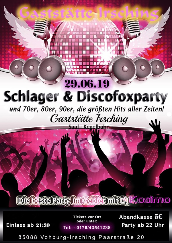 Flyer Schlager und Discofoxparty 29.06.2019